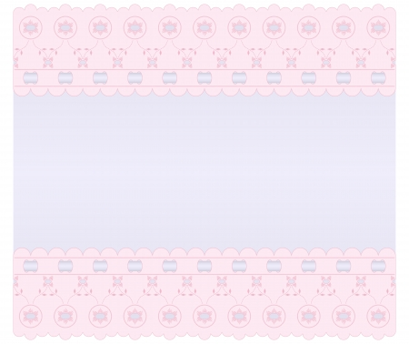 bows and ribbons: Soft lilac background with pink edges embroidered