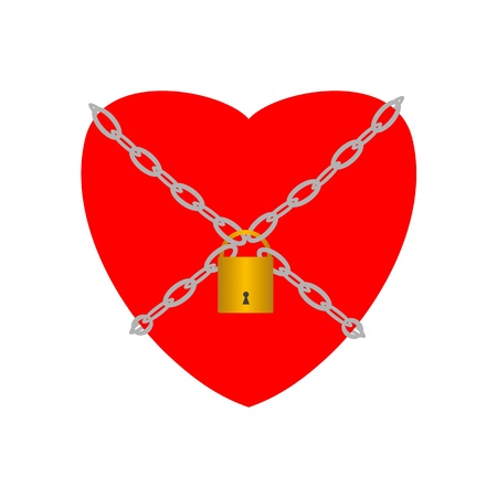 imprisoned person: Heart closed with chains and padlock