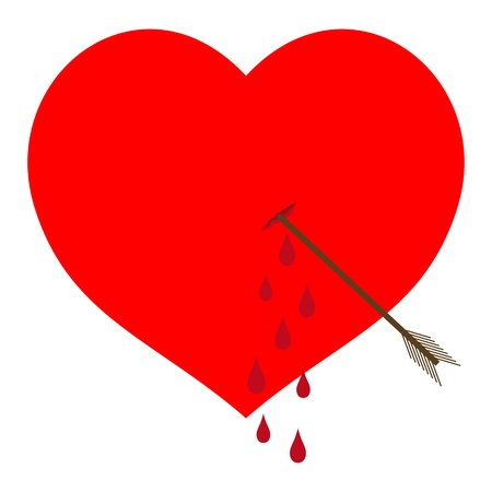Bleeding red heart pierced by an arrow Vector