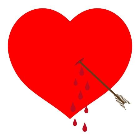 abandono: Sangrado coraz�n rojo atravesado por una flecha