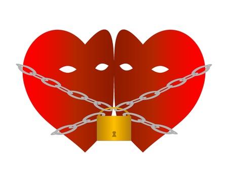 geketend: Twee harten geketend met kettingen en hangslot