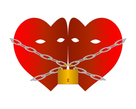 Two hearts chained with chains and padlock Illustration