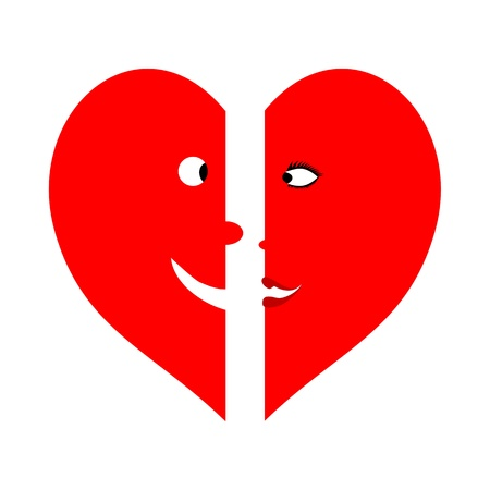 Two means hearts with faces of man and woman Illustration