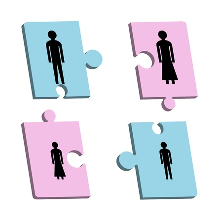 Four puzzle pieces with father, mother, son and daughter Stock Vector - 13820630