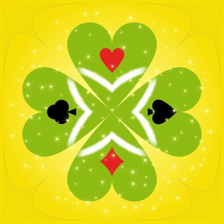 Green clover with suit on leaves Stock Vector - 13820566
