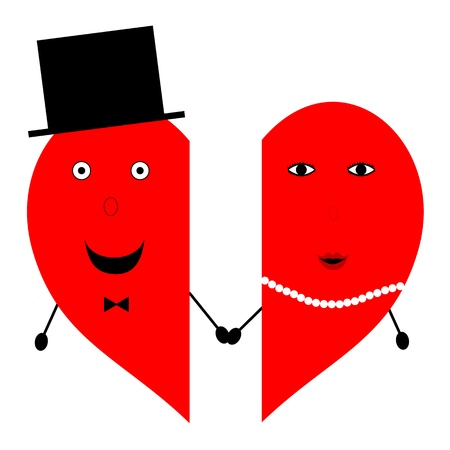 Two means hearts with faces of man and woman held by the hand