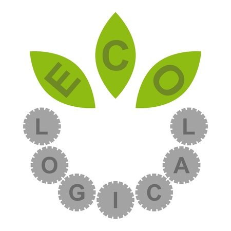 Logo with ECO written on leaves and LOGICAL written on cogs Illustration