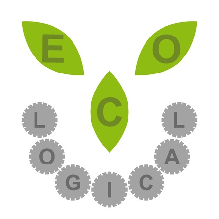 Logo with ECO written on leaves and LOGICAL written on cogs Stock Vector - 13820410