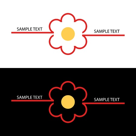 Red flower traced with geometric lines on a white and black background Vector