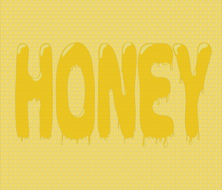 casting: Honey graffito made with casting honey on beehive background Illustration