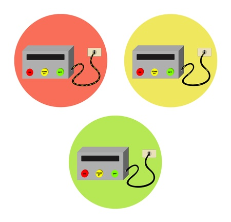 standby: On  standby  off devices with electricity consumption Illustration