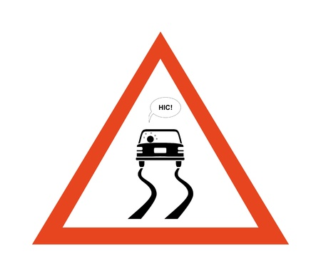 skidding: Sign of danger with drunk motorist that are skidding Illustration