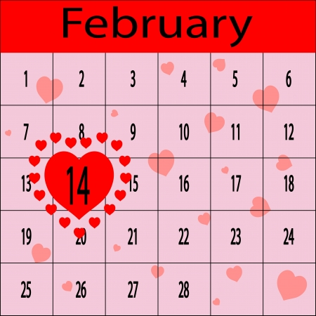 Schedule for February with 14 in heart Vector