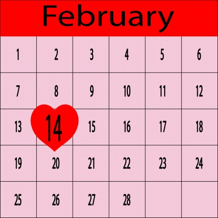 Schedule for February with 14 in heart Stock Vector - 13878656