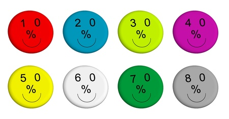 Buttons with discount percentage