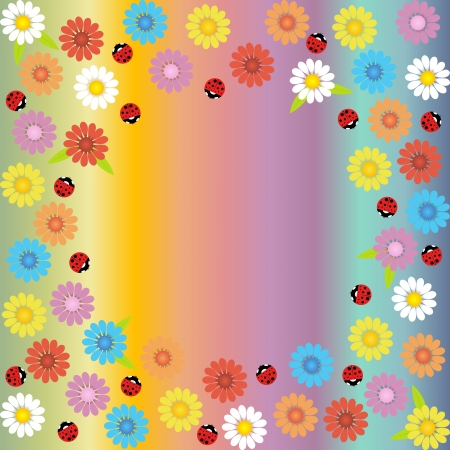 Soft background of various colors with daisies and ladybirds Illustration