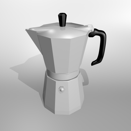 Moka - coffee pot for italian coffee on white background with shadow photo