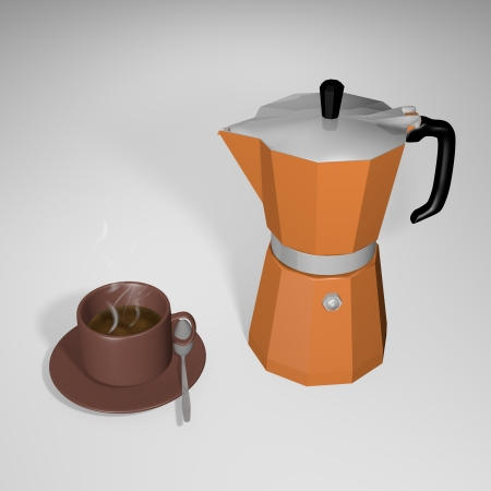 Coffee pot with little cup of coffee Stock Photo