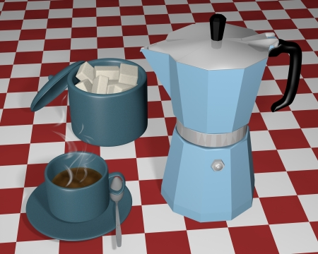 Coffee pot with little cup of coffee and sugar bowl