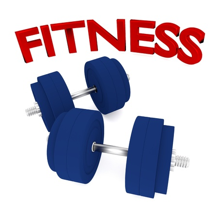 3d illustration of dumbbells with word fitness