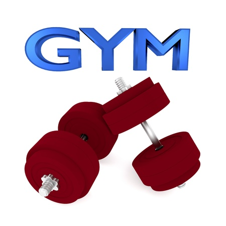 muscular build: 3d illustration of dumbbells with word GYM