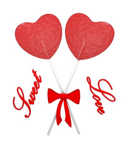 Two red lollipops heart shaped