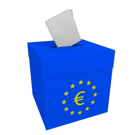 Blue box with opening for sheets cards with Europe Euro symbol