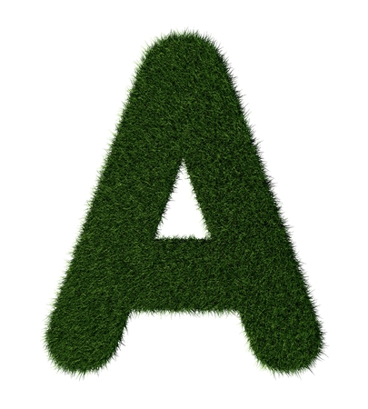 grass blades: Letter A made with blades of grass Stock Photo