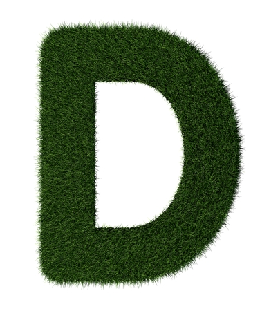 grass blades: Letter D made with blades of grass Stock Photo