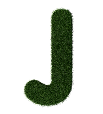 grass blades: Letter J made with blades of grass