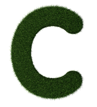 grass blades: Letter C made with blades of grass