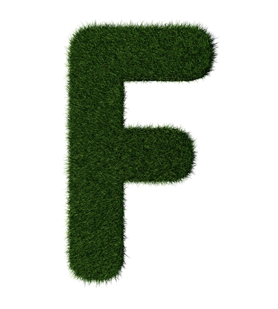 Letter F made with blades of grass