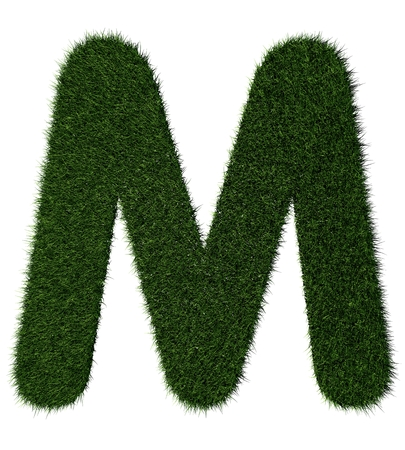 grass blades: Letter M made with blades of grass
