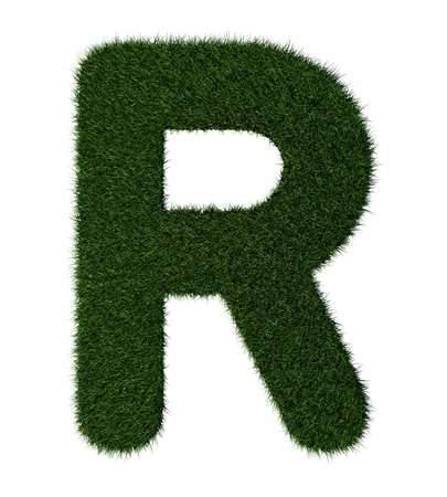 grass blades: Letter R made with blades of grass