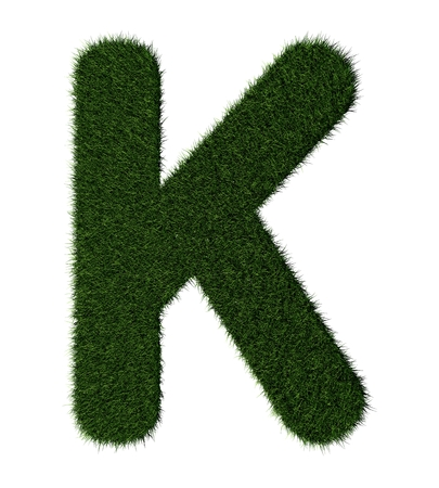 grass blades: Letter K made with blades of grass Stock Photo