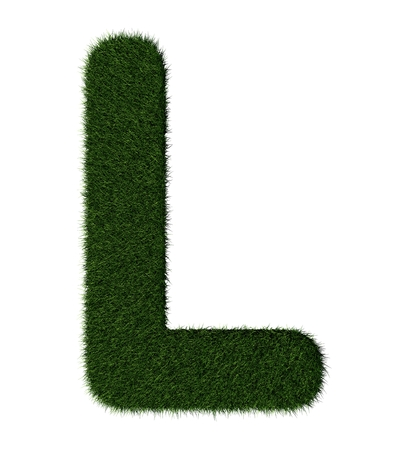 grass blades: Letter L made with blades of grass