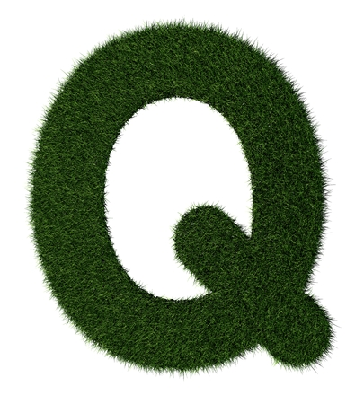 grass blades: Letter Q made with blades of grass Stock Photo