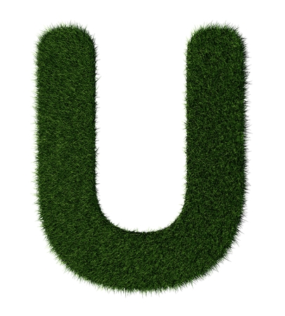 grass blades: Letter U made with blades of grass