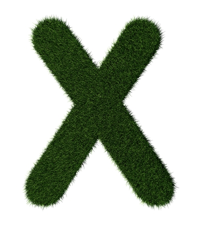 grass blades: Letter X made with blades of grass Stock Photo