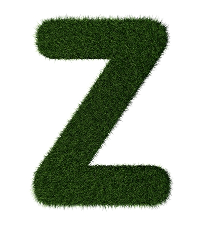 grass blades: Letter Z made with blades of grass Stock Photo