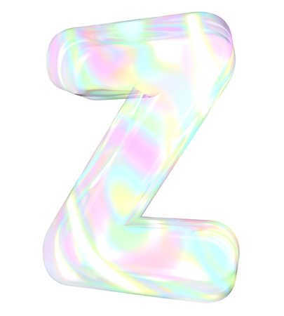 3d transparent letter colored with pastel colors Stock Photo