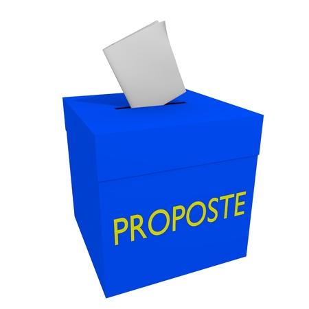 vorschlag: Blue-Box mit Öffnung für Blätter Karten mit Wortvorschlägen in italienischer Sprache