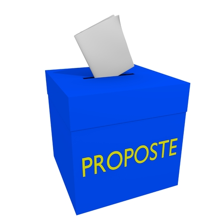 suggestion: Blue box with opening for sheets cards with word proposals in Italian language Stock Photo