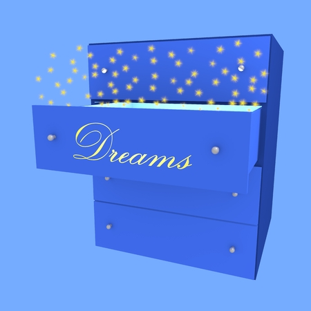 Drawer with word Dreams open with stars going out from it