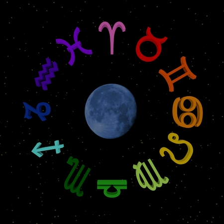 3d zodiac signs on starry sky with moon