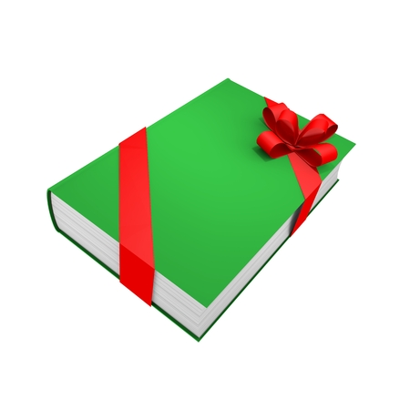 Green book with red ribbon on white background