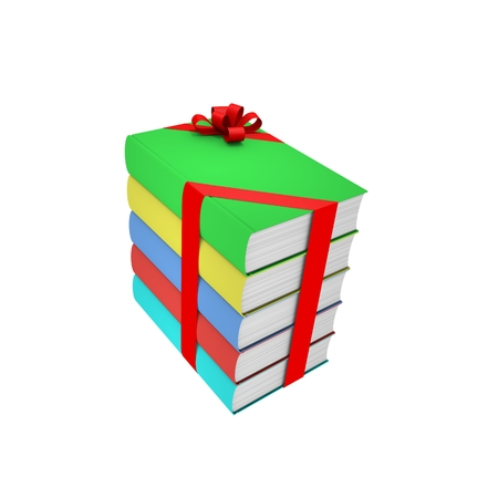 Stack of colored books with red bow