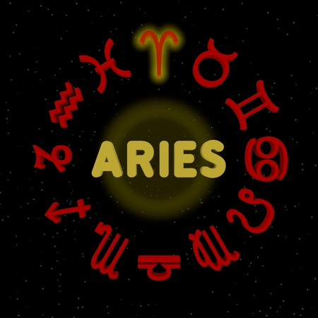 3d zodiac signs with ARIES highlighted