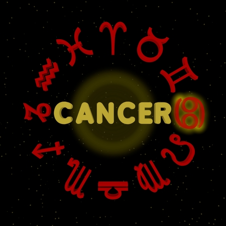 3d zodiac signs with CANCER highlighted Stock Photo