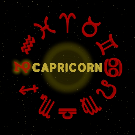 3d zodiac signs with CAPRICORN highlighted Stock Photo